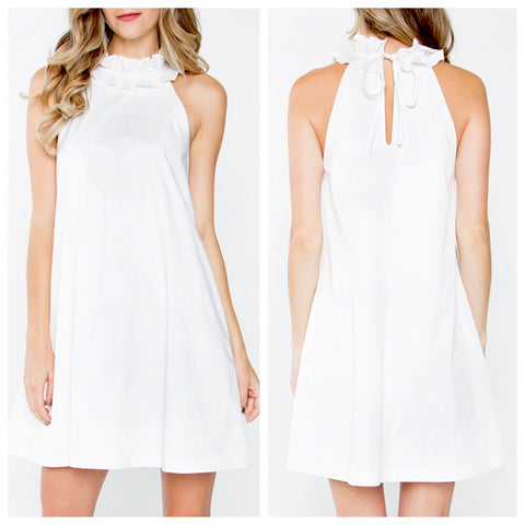 White Ruffle Collar Shift Dress with Keyhole Back Tie and Pockets!