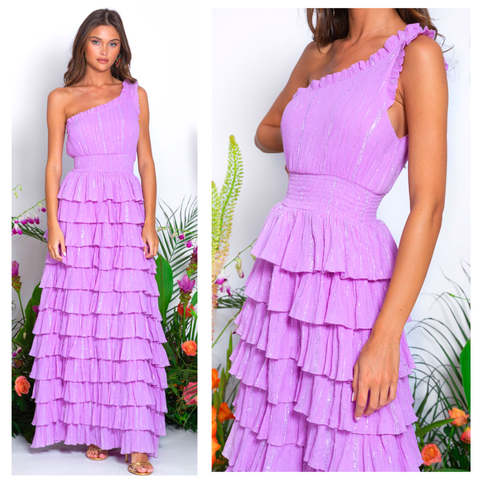 Sundress Metallic Guadelupe Pacific Lavender Dress
