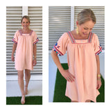 Peach Pleated Front EMBROIDERED Short Sleeve Dress
