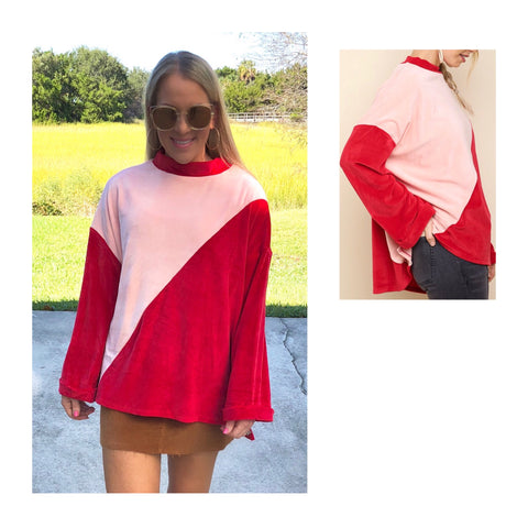 Red & Pink Colorblock Velour Swing Top
