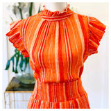 Orange Ombré Woven Ruffle Hem Skirt with Smocked Waist
