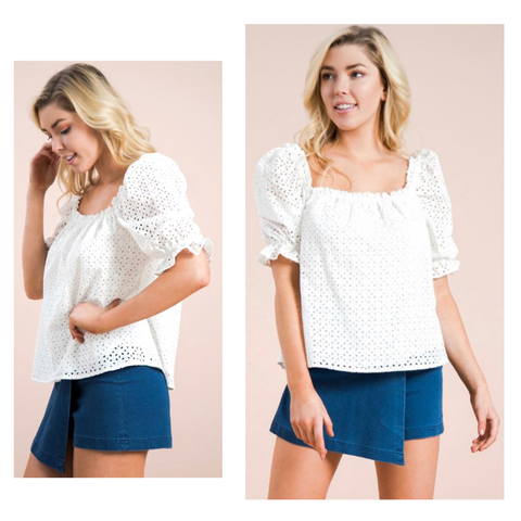 White Eyelet Top with Ruffle Puff Sleeves