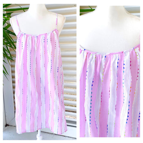 Lavender & Metallic Lurex Stripe Dress with Neon Yellow, Pink, Blue & Orange EMBROIDERED Fringe Trim