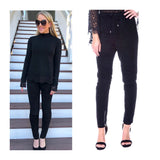 Black Faux SUEDE Moto Joggers with Ankle Zip & Tie Waist