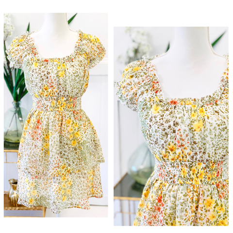 Green Pink & Yellow Floral Print Smocked Waist Dress with Ruched Sweetheart Neckline
