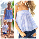 Blue White Stripe Smocked Cami with Shoulder Ties