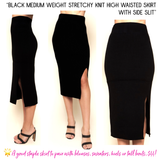 Black Medium Weight Stretchy Knit High Waisted Skirt with Side Slit