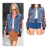 Denim Jacket with Aztec Multicolor Knit Balloon Sleeves