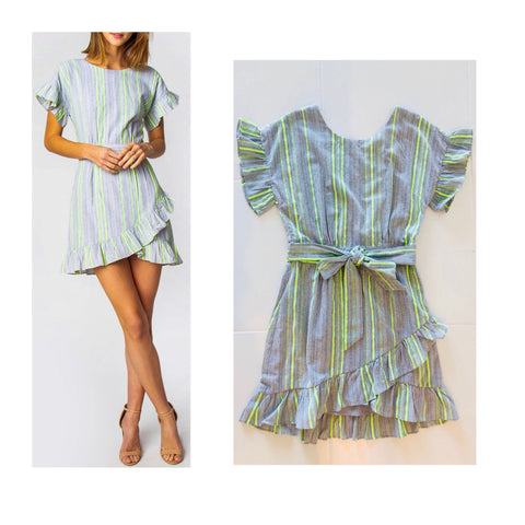 Grey & Neon Stripe Flutter Sleeve Dress with Ruffle Hem & Self Tie Waist