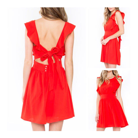 Tomato Red Ruffle Fit & Flare Backless Dress with Bow Tie Back