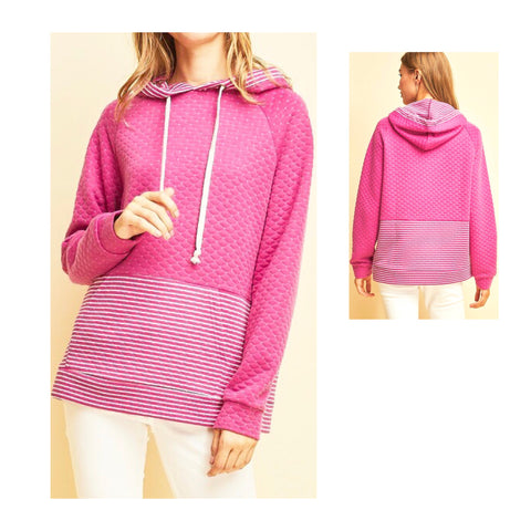 Hot Pink Diamond Quilted Hooded Sweatshirt with Stripe Contrast & Kangaroo Pocket