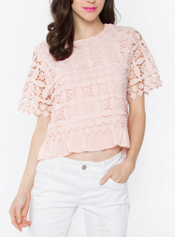 Blush Pink Crochet Overlay Short Sleeve Top