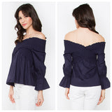 Navy Smocked Off the Shoulder Long Sleeve Top