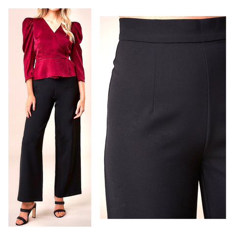 Black High Waisted Wide Leg Pants with Diagonal Pockets & Banded Waist