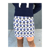 Ivory & Navy Embroidered Skirt