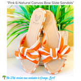 Orange & Natural Canvas Bow Slide Sandals