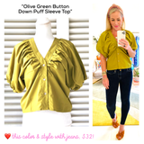 Olive Green Button Down Puff Sleeve Top