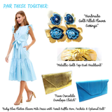 Baby Blue Sleeve Button Down Midi Dress with Tiered Ruffle Hem, Pockets & Optional Belt Sash