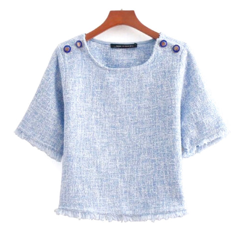 Powder Blue Twee Top with Fringe Hem & Shoulder Button Accents