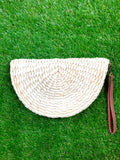 Ivory Straw Half Moon Clutch with Detachable Wrist Strap