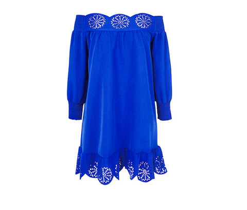Royal Blue Long Sleeve Off the Shoulder Eyelet Detail Dress OR Tunic