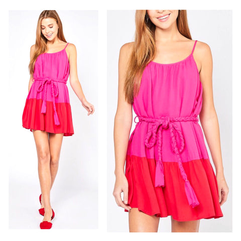 Magenta & Red Tiered Dress with Braided Tassel Tie Belt