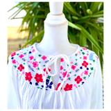 White Floral Bust Balloon Sleeve Top