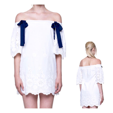 White Eyelet Scallop Hem Off the Shoulder Dress with Navy Grosgrain Ribbons