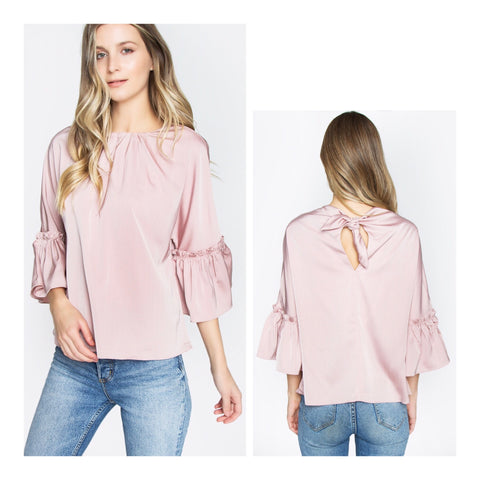 Blush Pink Ruffle 3/4 Bell Sleeve Top with BOW Back