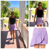 Lavender Asymmetrical Ruffle Hem Slightly Distressed Denim Skirt