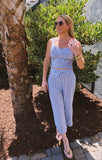 Blue White Seersucker Smocked Top & Cropped Palazzo Pants with Tie Waist - Matching Set (Sold Together)