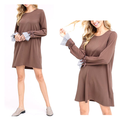 Mocha Soft Knit Long Sleeve Shift Dress with Ruffle Pinstripe Tie Sleeve Contrast