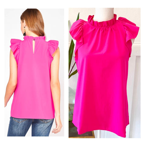 Hot Pink Ruffle Neck Sleeveless Top with Grommet Keyhole Back