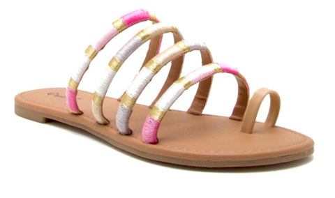 Pink Ivory & Gold Metallic Sandals
