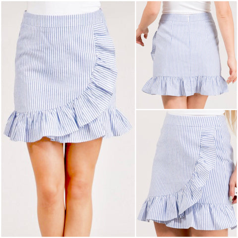 Blue White Stripe Biased Ruffle Skirt
