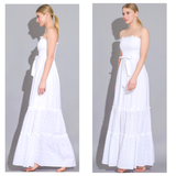 White Eyelet Smocked Bodice Maxi Dress with Tie Front