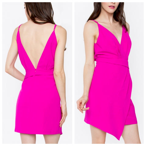 Hot Pink Spaghetti Strap Contrast Hem Cocktail Dress with Deep V Back