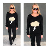 Black & Cream Knit Sweater with White SEQUIN Lightning Bolt