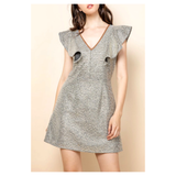 METALLIC Tweed Ruffle Sleeve A-Line Dress with Brown SUEDE Contrast Neckline