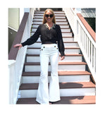 Ivory OR Black Smocked Sleeve & Waist Long Sleeve Top with Snap Bust Closure