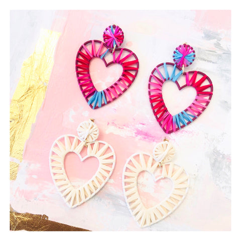 White or Pink Ombré Rattan Raffia Heart Earrings