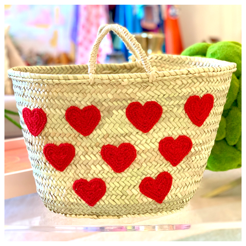 "Marrakech Handmade 18"" French Market HEARTS Straw Bag"
