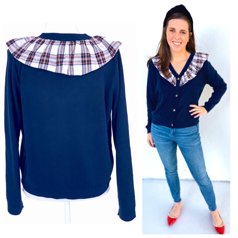 Navy Button Front Cardigan with Tartan Ruffle Contrast