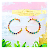 Gold Triangle Rainbow Beaded Hoops