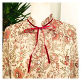 Ivory & Sage Floral Balloon Sleeve Blouse with Ruffle Neck & Burgundy VELVET Trim