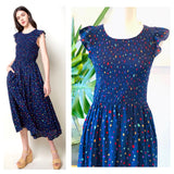 Navy & Multicolor Confetti Smocked Bodice Flutter Sleeve Midi Dress with Keyhole Back & POCKETS