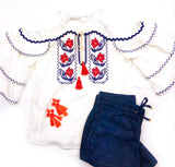 White Tiered Cold Shoulder Top with Navy RicRac Trim + Deep Coral Embroidery & Tassel Tie