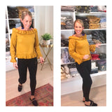Marigold OR Black Ruffle Hem On OR Off the Shoulder Sweater