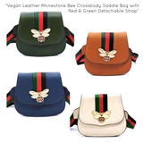 Vegan Leather Rhinestone Bee Crossbody Saddle Bag with Red & Green Detachable Strap