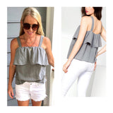 Grey Sleeveless Flounce Top with Ruffle Bust